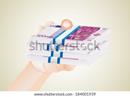man hand with euro bills - stock photo