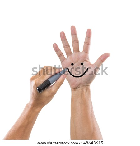 Man hand with five figure isolated on white background - stock photo