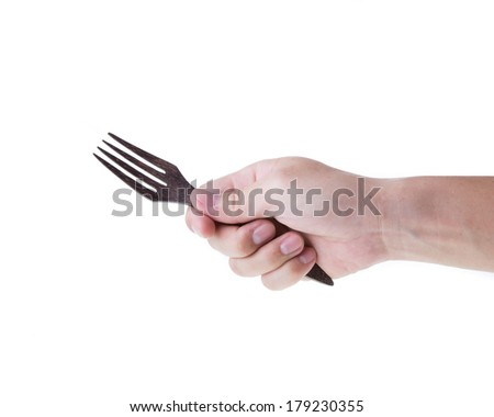Man hand with fork isolated on white background - stock photo