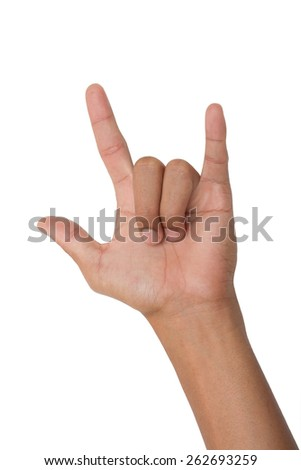 Man hand with I Love You sign isolated on white background - stock photo