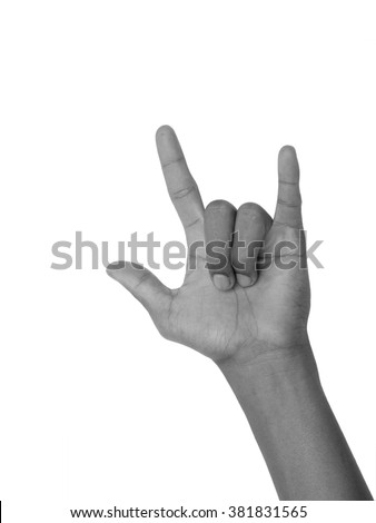 Man hand with I Love You sign isolated on white background, black and white color tone - stock photo