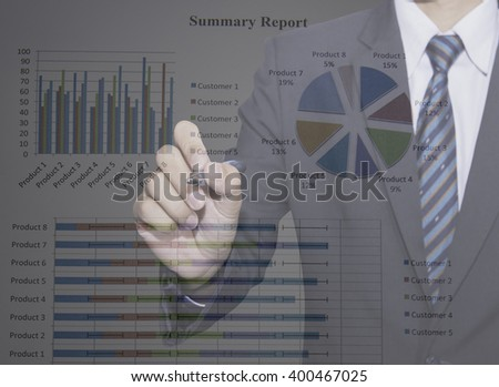 man hand with pen and business repor