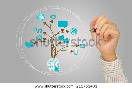 Man hand with pen drawing a graph social media concept on whiteboard - stock photo