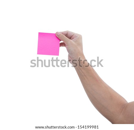 Man hand with pink adhesive note isolated on white background, clipping path - stock photo