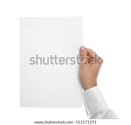 Man hand with white paper , isolated on white