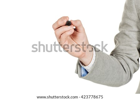 man hand write something with marker on transparent glass, isolated on white - stock photo
