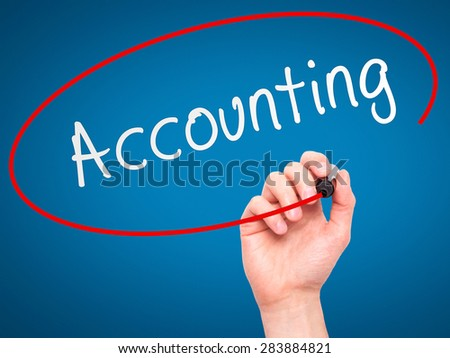 Man Hand writing Accounting with marker on transparent wipe board. Isolated on blue. Business, internet, technology concept. Stock Photo - stock photo