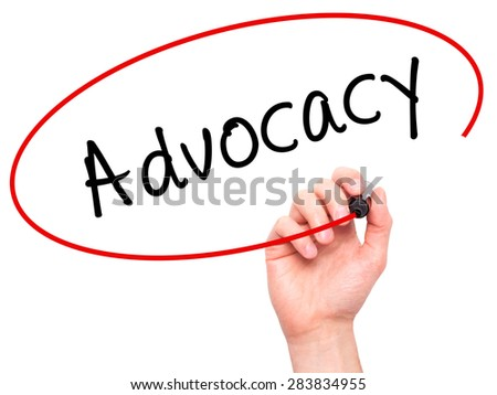 Man Hand writing Advocacy with marker on transparent wipe board. Isolated on white. Business, internet, technology concept. Stock Photo - stock photo