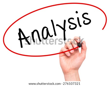 Man hand writing Analysis with marker on visual screen. Business, technology, internet concept. Isolated on white. stock Image - stock photo