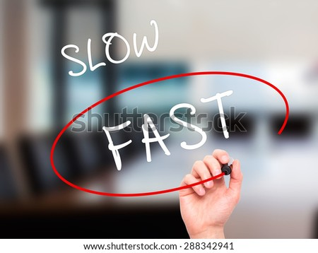 Man Hand writing and Choosing Fast instead of Slow with black marker on visual screen. Isolated on office. Business, technology, internet concept. Stock Image - stock photo