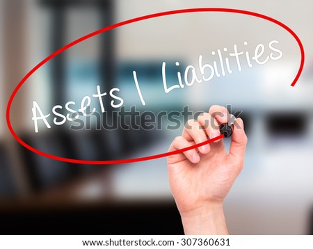Man Hand writing Assets Liabilities with black marker on visual screen. Isolated on office. Business, technology, internet concept. Stock Photo - stock photo