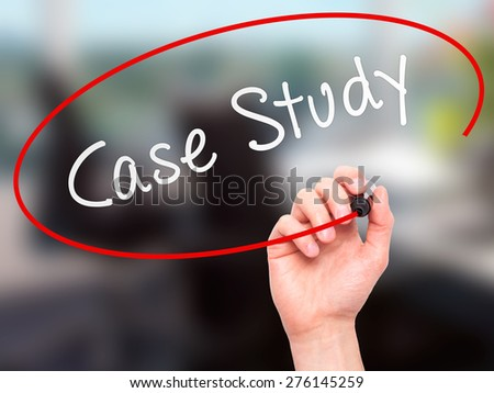 Man hand writing Case Study with marker on transparent screen. Business, internet, technology concept. Isolated on office. Stock Image - stock photo