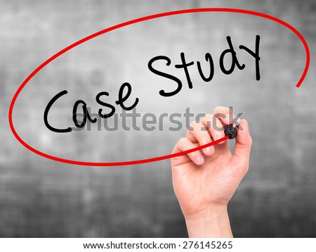 Man hand writing Case Study with marker on transparent screen. Business, internet, technology concept. Isolated on grey. Stock Image - stock photo