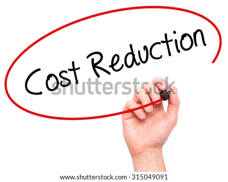 Man Hand writing Cost Reduction with black marker on visual screen. Isolated on white. Business, technology, internet concept. Stock Photo - stock photo