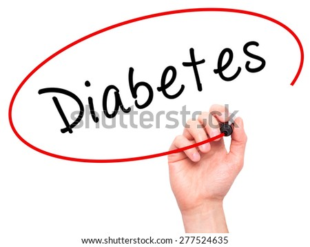 Man Hand writing Diabetes with marker on transparent wipe board. Isolated on white. Business, internet, technology concept.  Stock Photo - stock photo