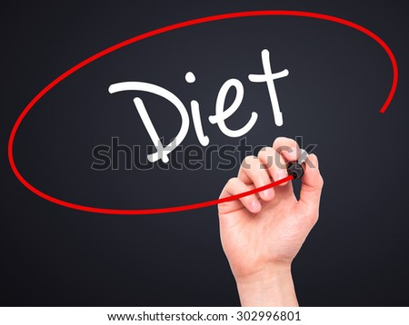Man Hand writing Diet (in Portuguese)  with black marker on visual screen. Isolated on black. Business, technology, internet concept. Stock Photo