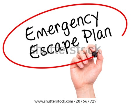 Man Hand writing Emergency Escape Plan with black marker on visual screen. Isolated on white. Business, technology, internet concept. Stock Image - stock photo