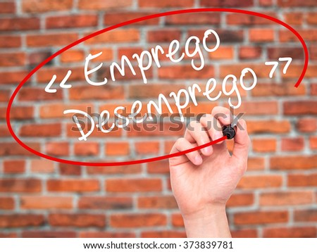 Man Hand writing Emprego Desemprego (Employment - Unemployment in Portuguese)  with black marker on visual screen. Isolated on background. Business, technology, internet concept. Stock Photo - stock photo