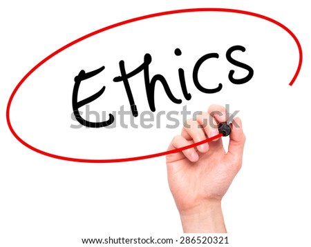Man hand writing Ethics on visual screen. Business,help, internet, technology concept. Isolated on white. Stock Photo - stock photo