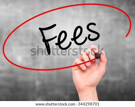 Man Hand writing Fees with black marker on visual screen. Isolated on background. Business, technology, internet concept. Stock Photo