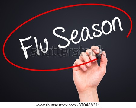 Man Hand writing  Flu Season with black marker on visual screen. Isolated on background. Business, technology, internet concept. Stock Photo - stock photo