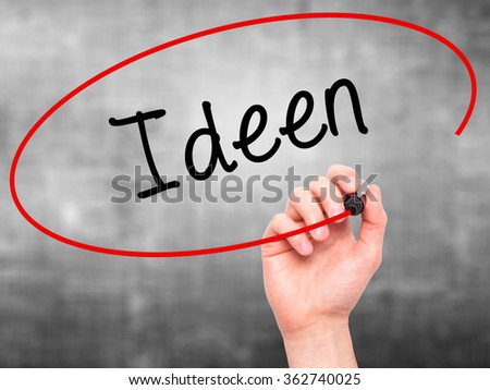 Man Hand writing Ideen (Ideas in German)  with black marker on visual screen. Isolated on background. Business, technology, internet concept. Stock Photo
