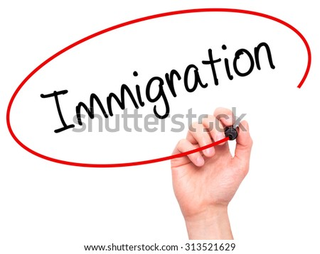 Man Hand writing Immigration with black marker on visual screen. Isolated on white. Business, technology, internet concept. Stock Photo - stock photo