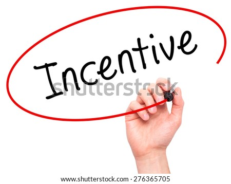 Man Hand writing Incentive with marker on transparent wipe board. Isolated on white. Business, internet, technology concept.  Stock Photo - stock photo