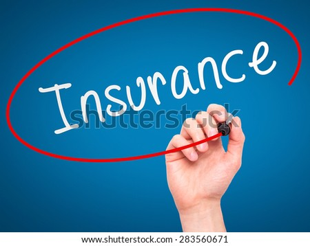 Man Hand writing Insurance with marker on transparent wipe board. Isolated on blue. Business, internet, technology concept. Stock Photo - stock photo