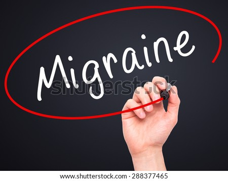 Man Hand writing Migraine with black marker on visual screen. Isolated on black. Business, technology, internet concept. Stock Image - stock photo