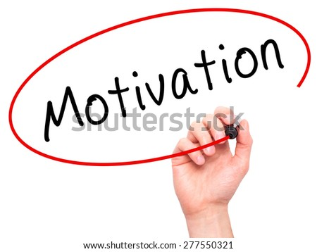 Man Hand writing Motivation with marker on transparent wipe board. Isolated on office. Business, internet, technology concept.  Stock Photo - stock photo