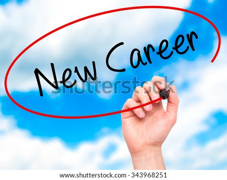 Man Hand writing New Career with black marker on visual screen. Isolated on background. Business, technology, internet concept. Stock Photo - stock photo