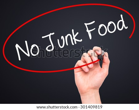 Man Hand writing No Junk Food with black marker on visual screen. Isolated on black. Business, technology, internet concept. Stock Photo - stock photo