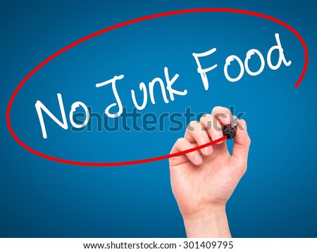 Man Hand writing No Junk Food with black marker on visual screen. Isolated on blue. Business, technology, internet concept. Stock Photo - stock photo