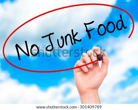 Man Hand writing No Junk Food with black marker on visual screen. Isolated on sky. Business, technology, internet concept. Stock Photo - stock photo