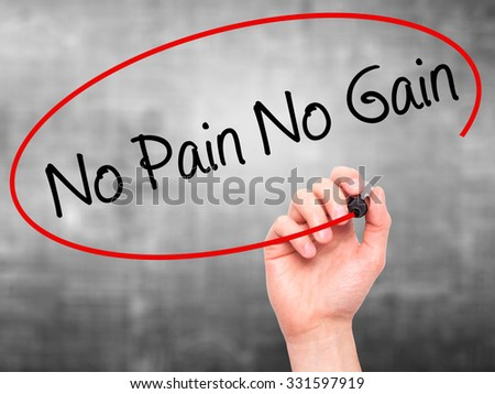 Man Hand writing No Pain No Gain with black marker on visual screen. Isolated on grey. Business, technology, internet concept. Stock Photo - stock photo