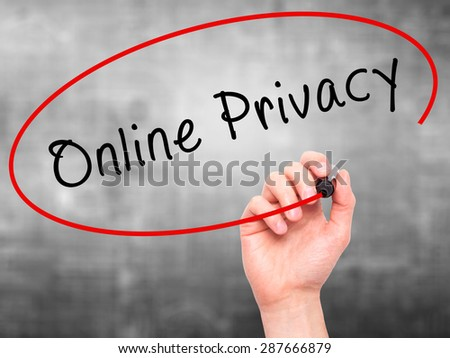 Man Hand writing Online Privacy with black marker on visual screen. Isolated on grey. Business, technology, internet concept. Stock Image - stock photo