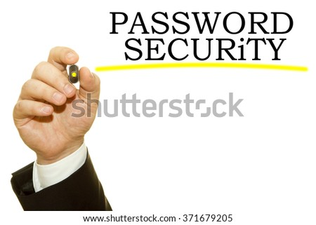 Man Hand writing Password Security on a transparent wipe board - stock photo