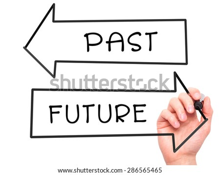 Man Hand writing Past and Future with marker on transparent wipe board. Isolated on white. Business, internet, technology concept. Stock Photo - stock photo