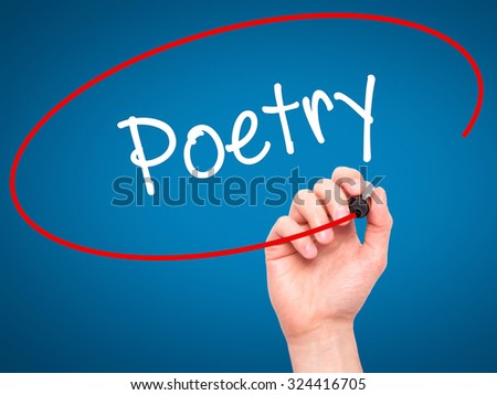 Man Hand writing Poetry  with black marker on visual screen. Isolated on blue. Business, technology, internet concept. Stock Photo - stock photo