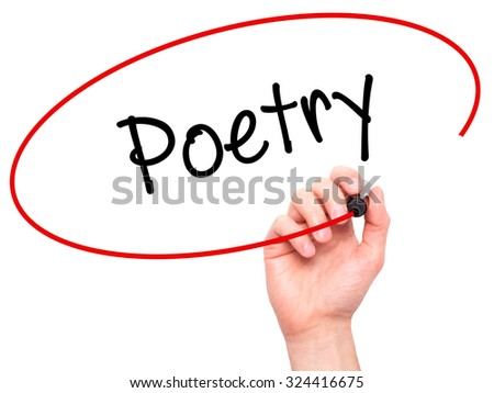 Man Hand writing Poetry  with black marker on visual screen. Isolated on white. Business, technology, internet concept. Stock Photo - stock photo