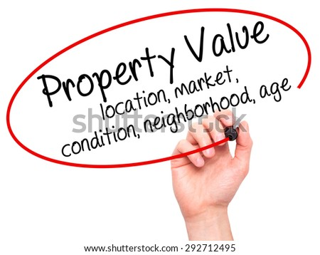 Man Hand writing Property Value - location, market, condition, neighborhood, age with black marker on visual screen. Isolated on white. Business, technology, internet concept. Stock Image