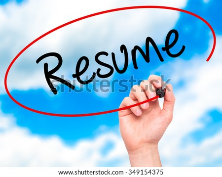 Man Hand writing Resume with black marker on visual screen. Isolated on background. Business, technology, internet concept. Stock Photo - stock photo