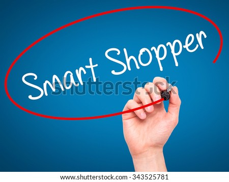 Man Hand writing Smart Shopper with black marker on visual screen. Isolated on blue. Business, technology, internet concept. Stock Photo - stock photo