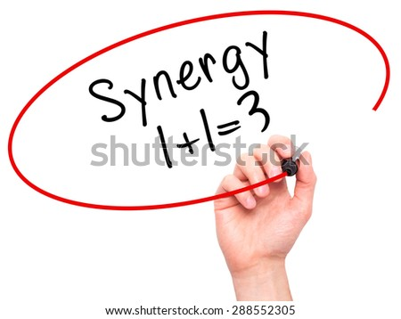 Man Hand writing Synergy concept 1+1=3 with black marker on visual screen. Isolated on white. Business, technology, internet concept. Stock Image - stock photo