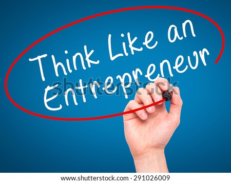 Man Hand writing Think Like an Entrepreneur with black marker on visual screen. Isolated on blue. Business, technology, internet concept. Stock Image - stock photo