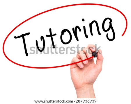 Man Hand writing Tutoring with black marker on visual screen. Isolated on white. Business, technology, internet concept. Stock Image - stock photo
