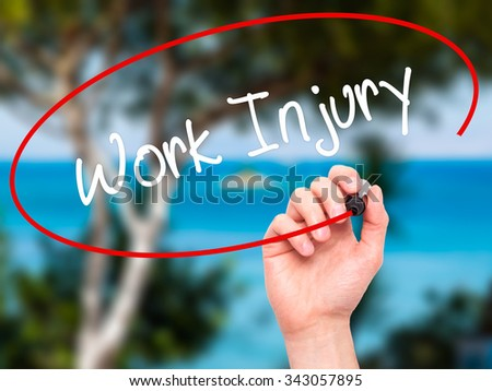 Man Hand writing Work Injury with black marker on visual screen. Isolated on nature. Business, technology, internet concept. Stock Photo - stock photo