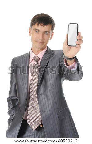 man handing a white phone. Isolated on white background - stock photo