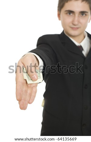 Man handing over a dollar bill isolated on white background - stock photo